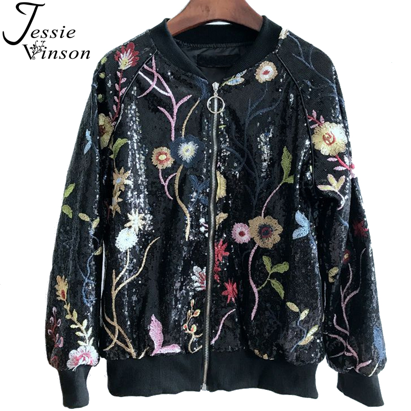 Jessie Vinson O-neck Embroidery Flower Sequins Bomber Jacket Zipper Black Baseball Jacket Coat Autumn Winter Basic Jacket Women women s embroidery bomber jacket 2017 autumn high quality floral printed jacquard black