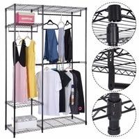 48x18x71 Closet Organizer Adjustable Metal Wardrobe Garment Rack Portable Clothes Hanger Home Cabinet Shelf HW58701