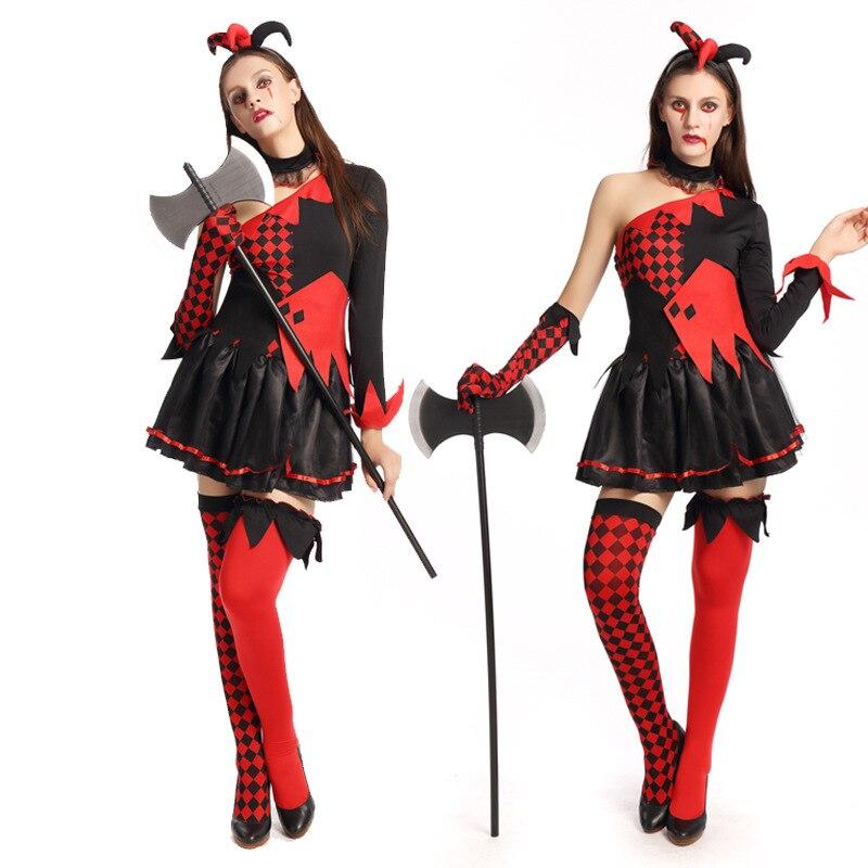 ღ ღFunny Harley Quinn traje mujer adulto payaso circo Cosplay ...