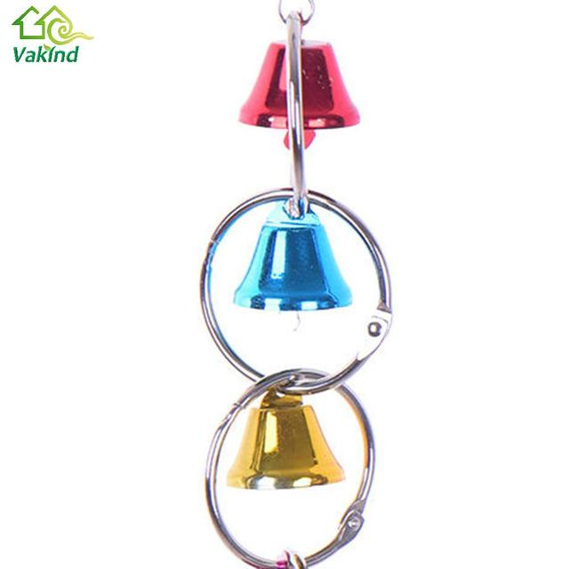 Colorful Parrot Bird Toys Metal Ring Bell Hanging Cage 4