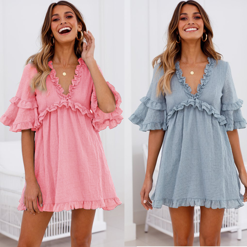 Lipswag Women Casual O-Neck Sleeveless Pleated Mini Dress Summer Sexy Backless Beach Party Dresses Lace-up Solid Femme 361