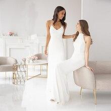 Verngo Ivory Bridesmaid Dresses Spaghetti Straps Dress Simple Elegant For Wedding Party Vestidos De Madrinha