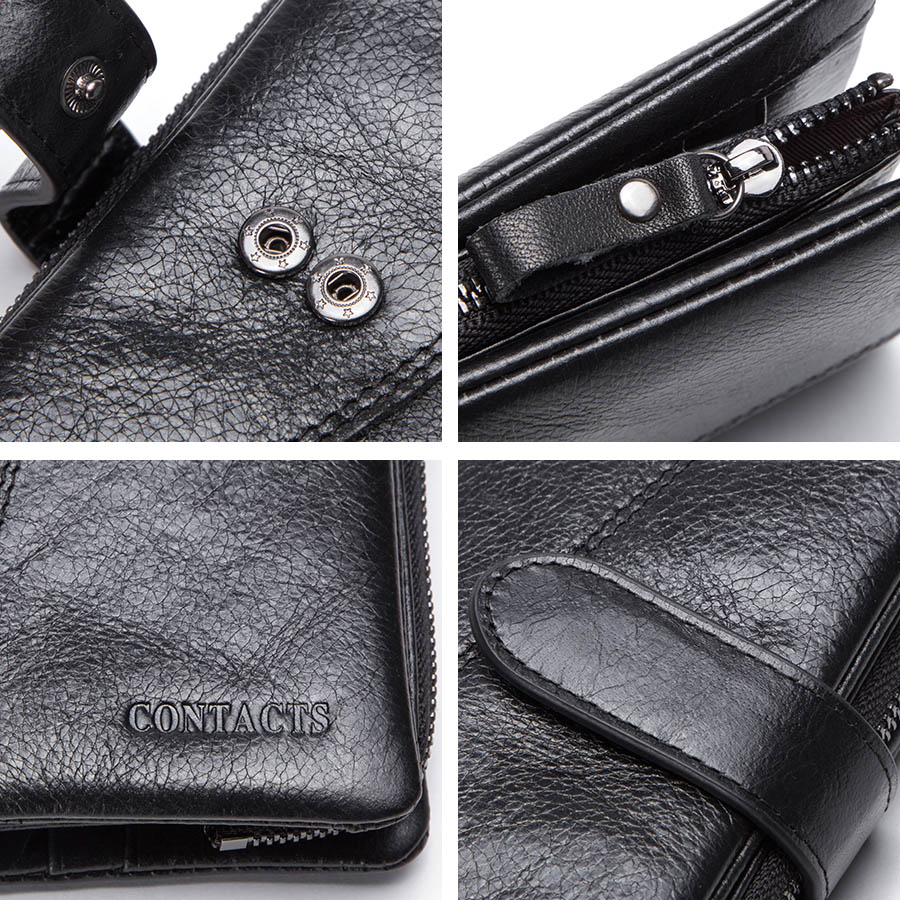 CONTACT'S genuine leather men's long wallet with phone bag zipper coin pocket purse male clutch wallets for men portfel small 5