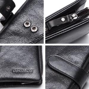 Image 5 - CONTACTS محفظة طويلة جلد أصلي للرجال مع حقيبة الهاتف سستة عملة جيب محفظة الذكور مخلب محافظ للرجال Portfel صغيرة