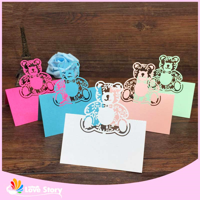 bhl 40pcs bear laser cut baby shower birthday party table name place