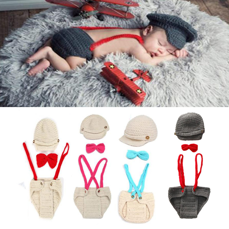 Newborn Photography Props Pilot Boy Accessories Girl Boys Clothing Crochet Baby Clothes Infant Costume Crotheted Outfit