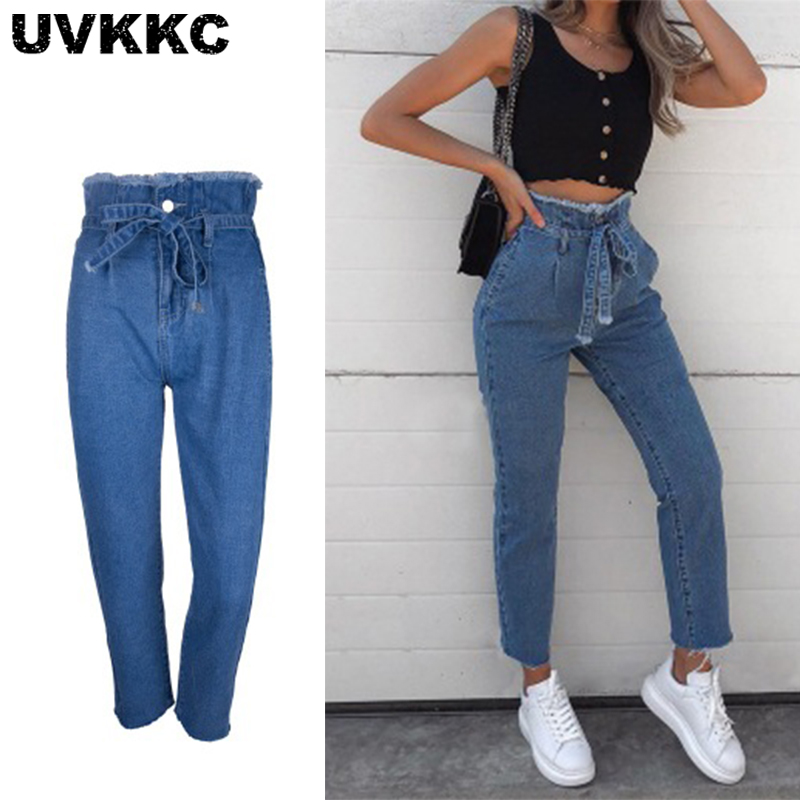 Uvkkc Women Jeans 2019 Autumn Fashion Female Pants Zipper High Waist Drawstring Straight Casual Denim For Hot Sale