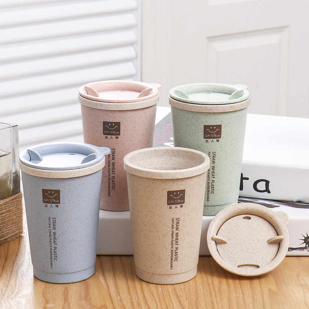 2018 New 280ML Wheat Straw Portable Double-wall Portable Office Coffee Tea Cups Gifts  NE711
