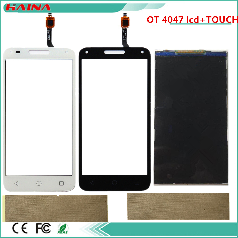 For <font><b>Alcatel</b></font> One Touch U5 3G 4047 <font><b>4047D</b></font> OT4047 <font><b>LCD</b></font> Display Screen+Touch Screen Digitizer Black White Color With tools image