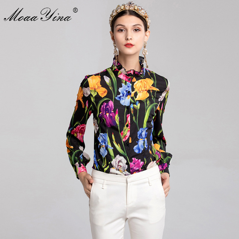 MoaaYina Fashion Designer Runway Plus size 3XL Shirt Summer Women Long sleeve Ruffled collar Printing Casual