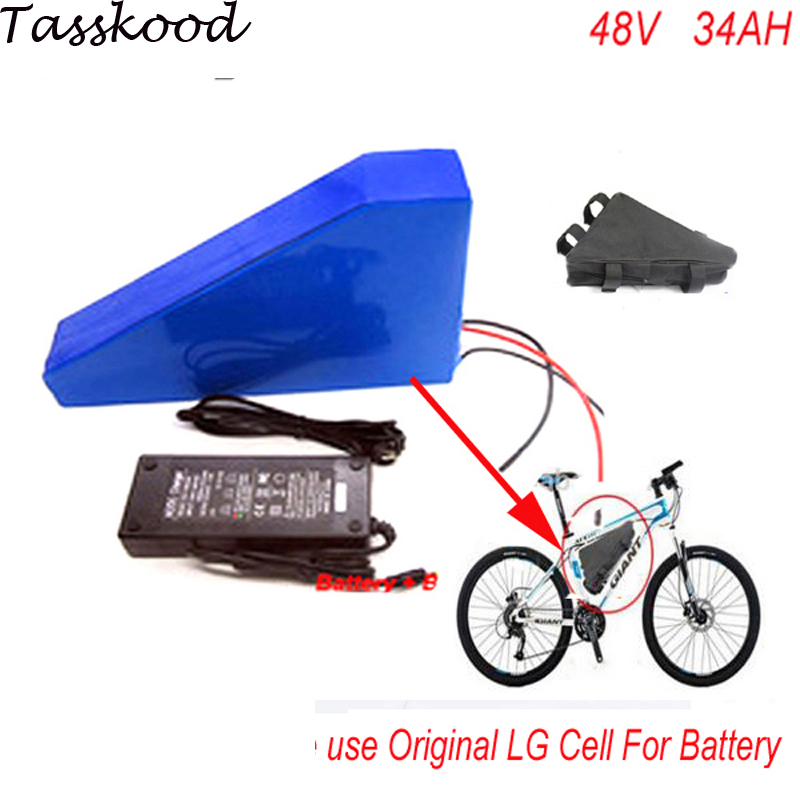 48v 1000w bafang lithium ion battery with triangle bag for electric bike battery 48v 34ah ebike li-ion battery pack Use LG Cell rear rack 20ah 48v akku 48v 1000w lithium ion battery for ebike battery pack with power lights and tail lights for samsung cell
