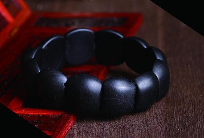 100% Real Natural black jade sibin bian stone needle byanshi bianshi SI Bin Hand row brief bracelet health care