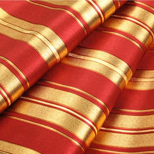 Modern Luxury Gold Red Striped Wallpaper 3D Embossed Gold Foil Wallpaper Roll