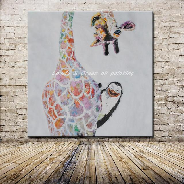 No Framed Handpainted Large Modern Cartoon Colorful Naughty Animal ...