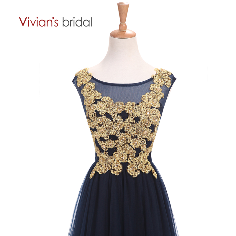 Vivians Bridal Gold Appliques Sleeve En Line Mor Of The Bride Dresses - Bröllopsfestklänningar - Foto 4