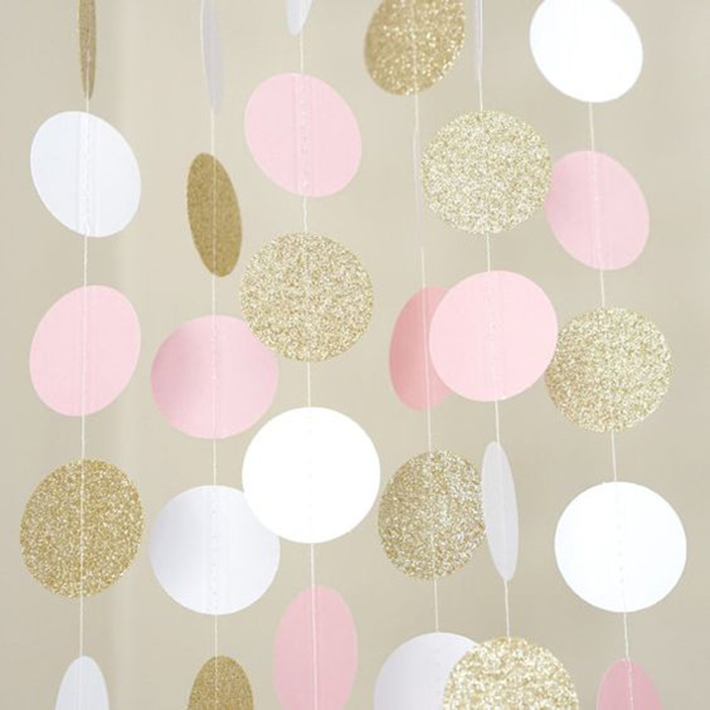 (Glitter gold,Pink,White) 11 Feet Circle Garland Polka Dot Paper Garland Photo Backdrop Bridal Shower Wedding Hanging Decor