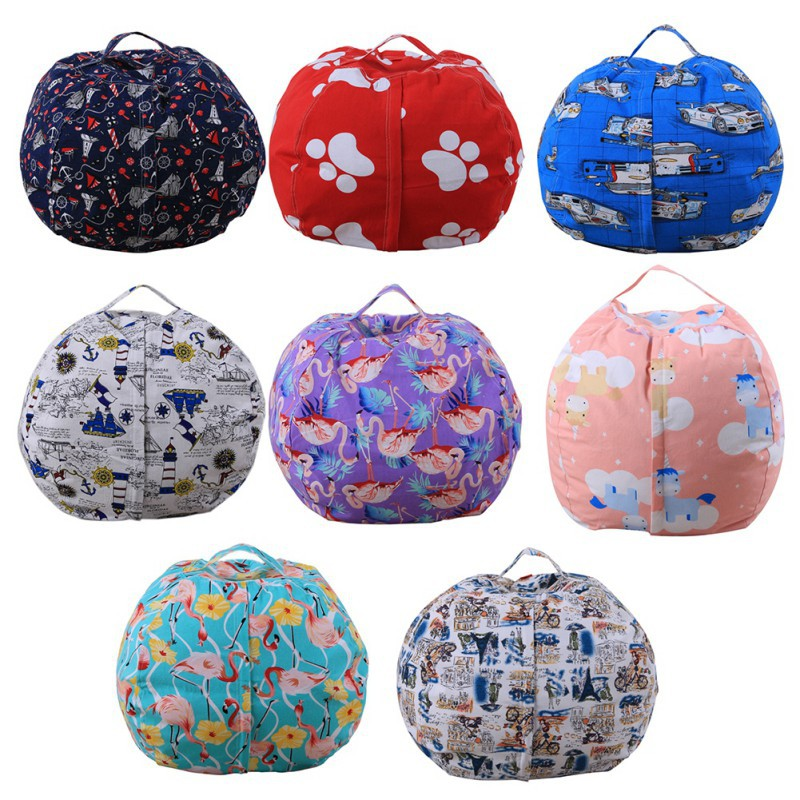 storage bags Kids Stripe Stuffed Animal Plush Toy Orgniation Bag Storage Bean Bag Soft Pouch Stripe Fabric Chair Sofa Toys Bag