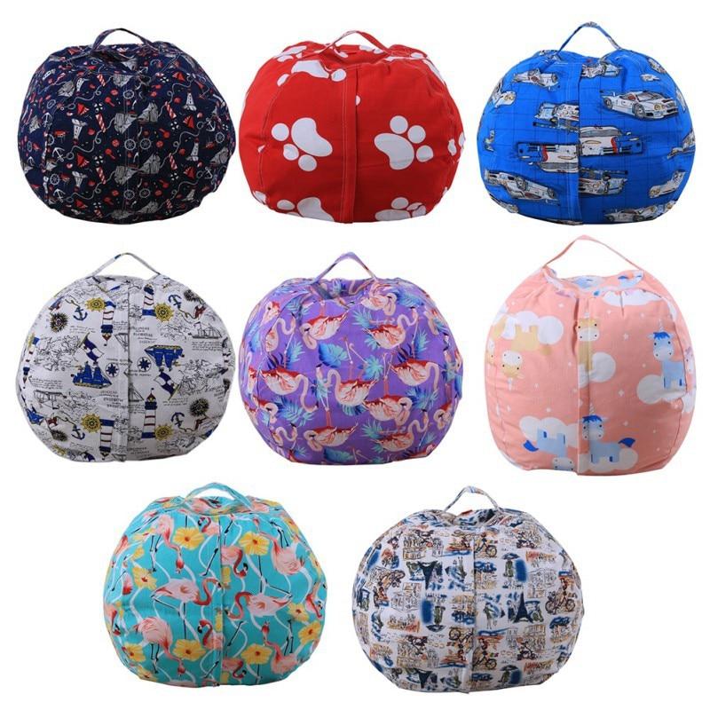 storage bags Kids Stripe Stuffed Animal Plush Toy Orgniation Bag Storage Bean Bag Soft Pouch Stripe Fabric Chair Sofa Toys Bag
