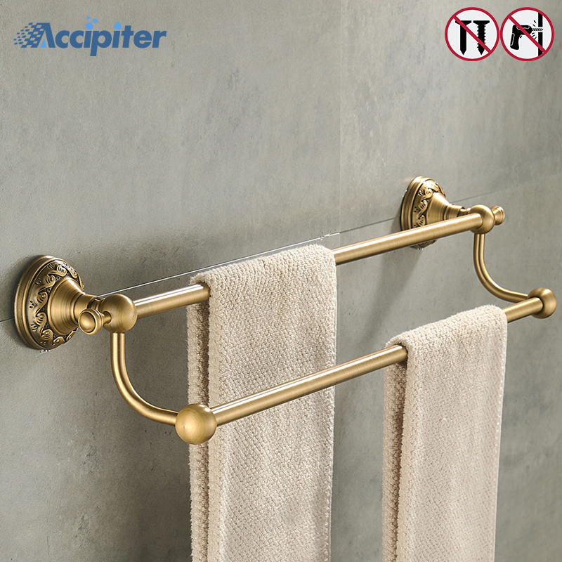 Nail Free 50cm Double Towel Bar Towel Holder 2 Layer