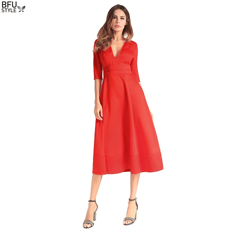 Solid Color In The Long Section Of The Annual Deep V Sexy Retro Slim Dress Small Black Dress Summer High Waist Red Dress