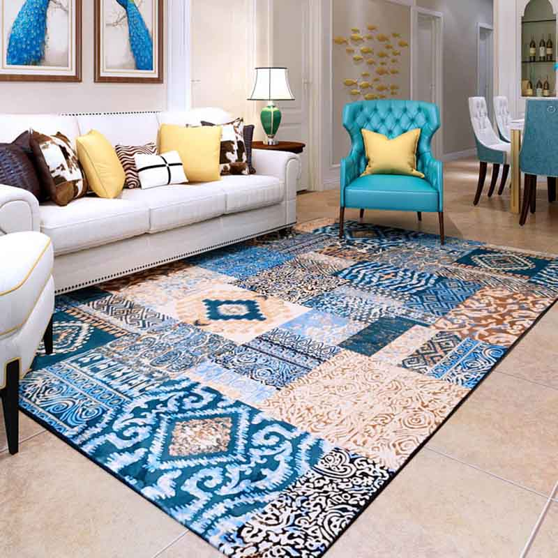 Washable Area Rugs Living Room: WINLIFE Mediterranean Style Home Carpets Large Area Rugs