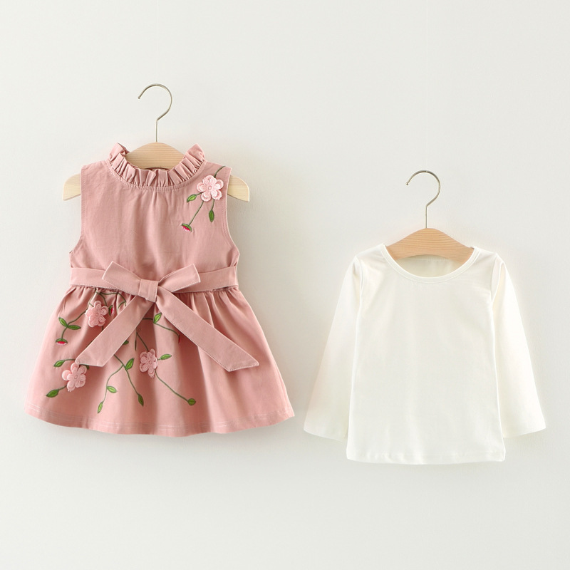 Baby Girls Clothes Sets 2017 New Autumn Girls Clothes Cotton White Long Sleeves+Embroidered Lace Bow Vest Sets Children Clothes new autumn sweet girls sets two piece cardigan outwear cape jacket long sleeve dress cotton lace kids girls clothes sets