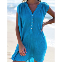 Summer Sleeveless Casual Dress Women Sexy V-neck Solid Color Beach Holiday Sun Dress sexy plunging neck solid color sleeveless mini dress for women