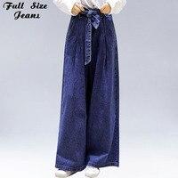 Summer Plus Size Bow Tie Waist Loose Wide Leg Jeans Women 4Xl 5Xl Streetwear Oversized High