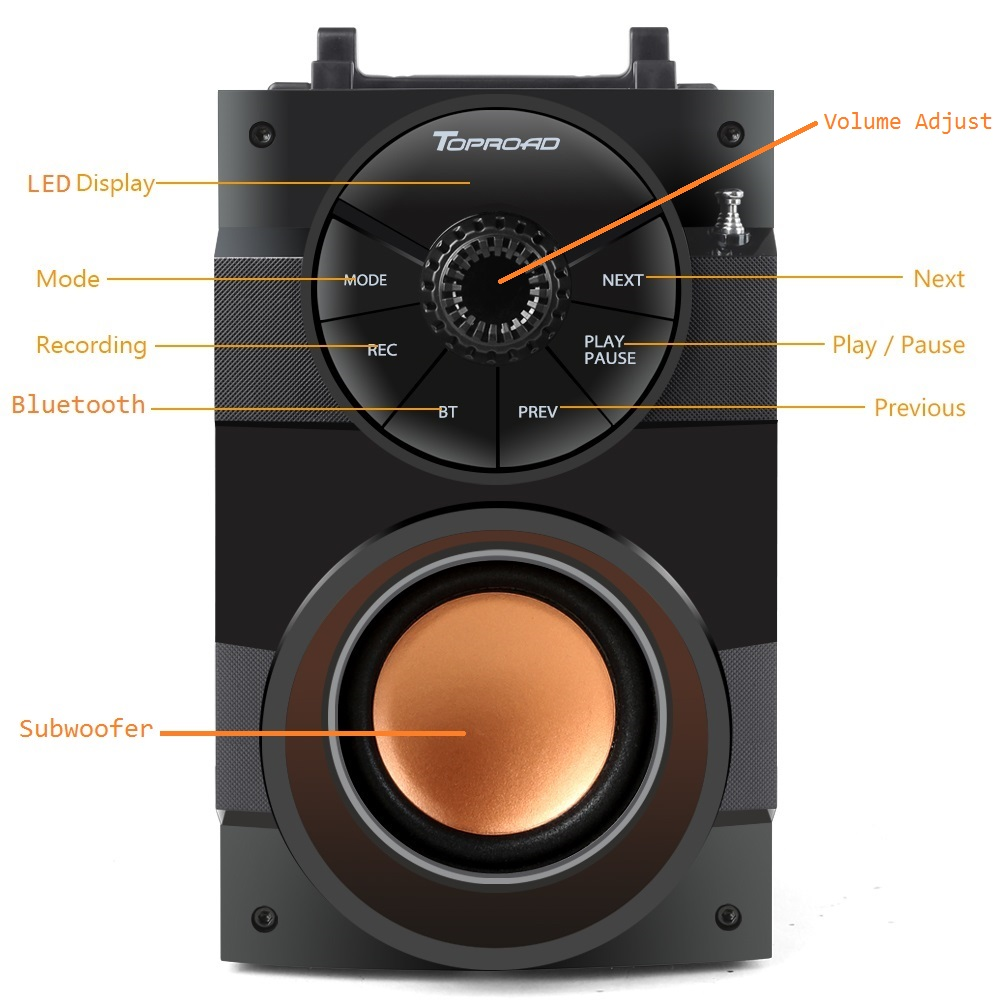 TOPROAD Bluetooth Speaker Portable Big Power Wireless Stereo Subwoofer Heavy Bass Speakers Sound Box Support FM Radio TF AUX USB 3
