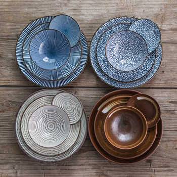 Japanese-style  Ceramic Tableware Set Creative ceramic plate home plate dishes set