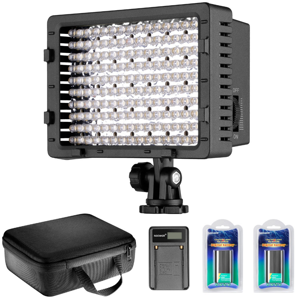 Neewer CN-160 LED Dimmable Ultra High Power Panel Video Light Kit for Canon, Nikon, Pentax, Sony DSLR Cameras,DV Camcorders ylg0102h dslr shoulder mount support rig double hand handgrip holder set for all video cameras and dv camcorders
