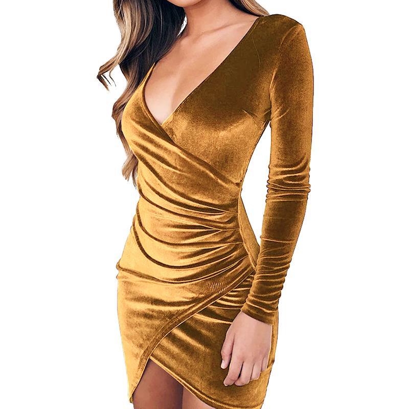 Velvet bodycon dress long sleeve tops