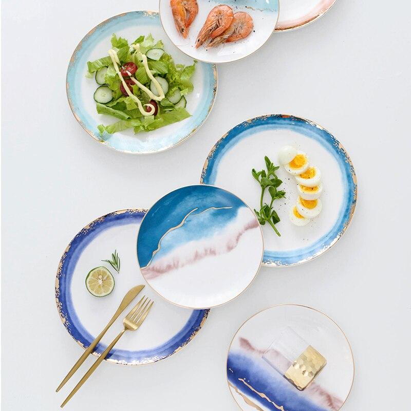 Western Salad Dishes: Phnom Penh Color Ceramic Tableware Porcelain Plate Dish
