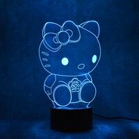 참신 3D LED 테이블 램프 USB 시각적 Luminaria 머리맡 밤 아이 선물 고양이 램프 아기 밤 빛 키티 장식