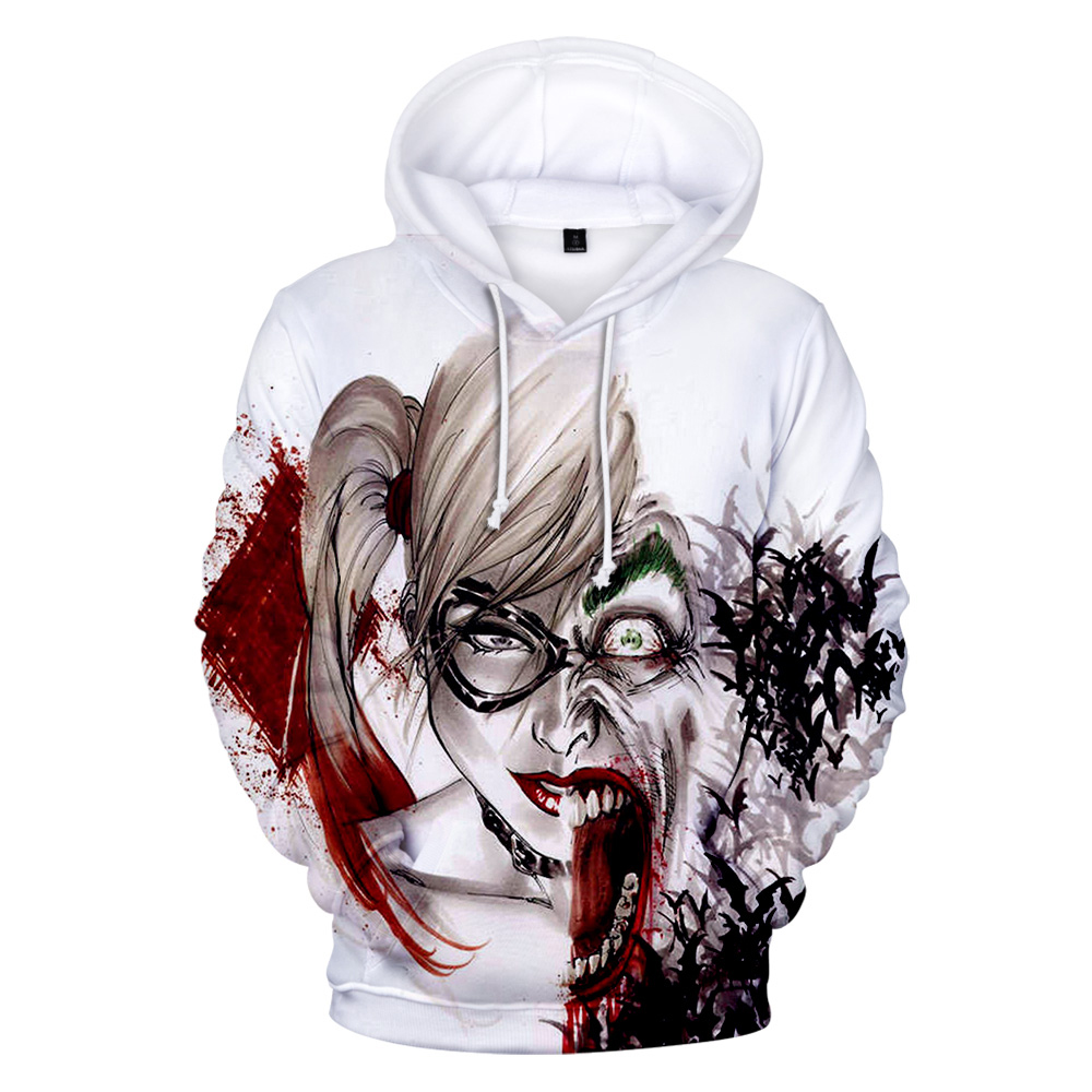 Funny Streetwear Hoodies Couples Haha-Joker Harley-Quinn Hip-Hop 3d Print Autumn Men/women