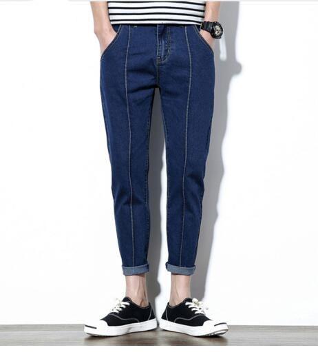 2017 NEW denim jeans for men skinny Distressed slim designer biker hip hop jeans male Straight solid classic men jean new 2017 slim skinny denim biker pant boyfriend hip hop trousers bule color fashion brand jeans for male e035