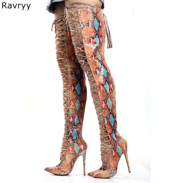 Pointed Toe Cross-tied Woman Long Boots Summer Colorful Snakeskin Over-the-knee Sandal Boots Lace Up Female Motorcycle BootiesPointed Toe Cross-tied Woman Long Boots Summer Colorful Snakeskin Over-the-knee Sandal Boots Lace Up Female Motorcycle Booties