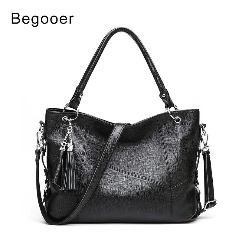 Begooer Luxury Handbags Women Bags Designer Genuine Leather Shoulder Bags Cowhide Totes With Tassel Bag bolsa feminina Handbags