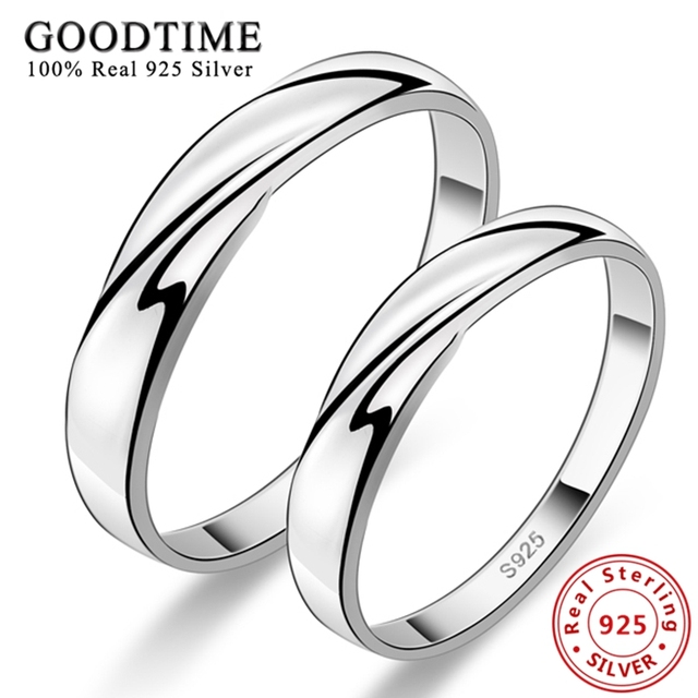 1PCS Lovers Ring 925 Sterling Silver Rings Korean Style Pure Silver Jewelry Simple Intertwined Love Couple Ring for Men Women