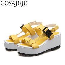 GOSAJUJE 2017 новые летние туфли на платформе сандалии женщин моды небольшой size31 32 женская обувь сексуальная европейский стиль большой размер 42 43