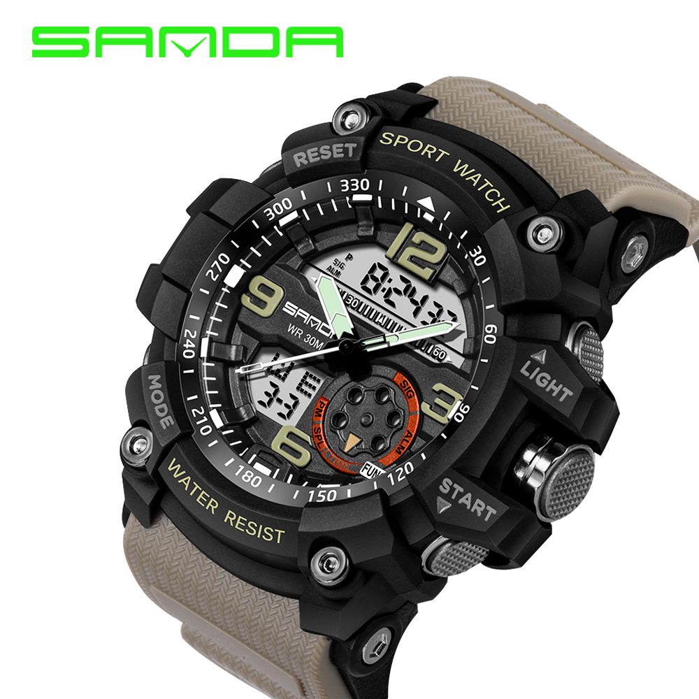 Sanda Luxury Brand Men Sport Digital Led Watch G Military Multifunction Shock Wristwatch 5atm Waterproof Relogio