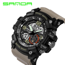 Men Watches 2016 New Brand SANDA Sport Digital LED Watch Casual Military Multifunctional Wristwatch 5ATM Water Resistant