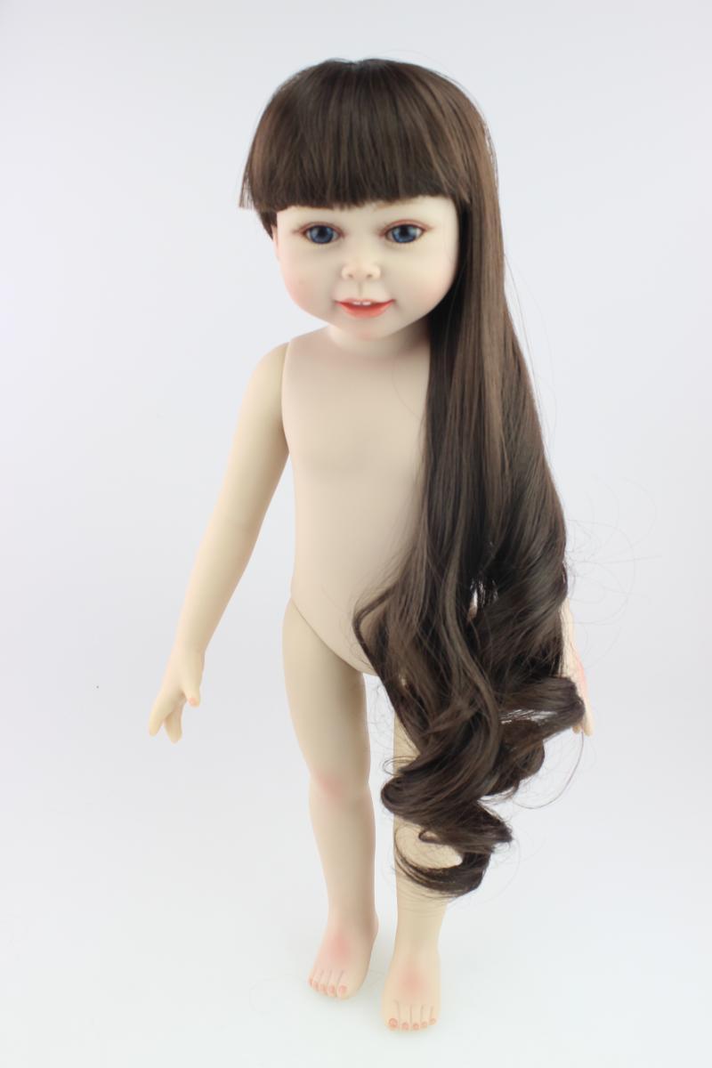 Child sex dolls New 18inch Doll NPK Lifelike Full Vinyl Body Naked American Girl Doll With  Curly Long Hair