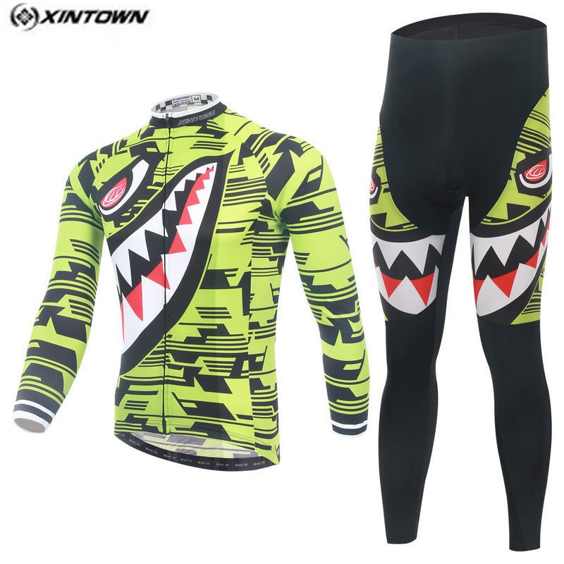 Hot XINTOWN Men MTB Bike jersey Bib Pants Sets Yellow Shark Pro Team Cycling clothing Riding Wear Long Sleeve Shirts Coolmax xintown new 2018 spring cycling jersey set long sleeve 3d gel padded sets bike clothing mtb protective wear cycling clothes sets