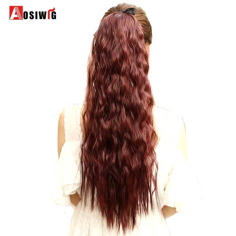 22 tum lång vågig hästsvans för svarta kvinnor vin röda hår - Syntetiskt hår - Foto 2