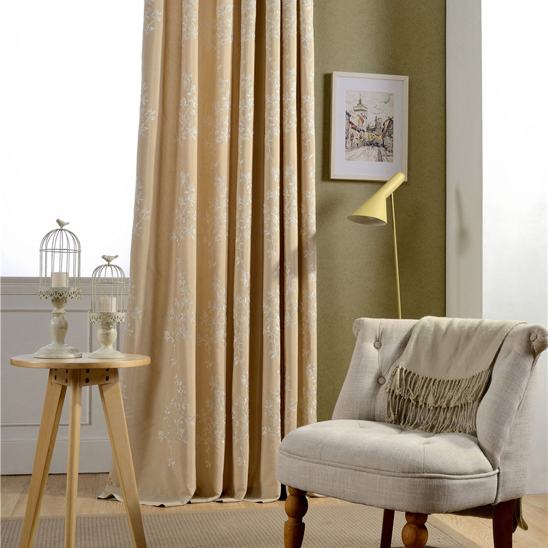 Solid Color Embroidered Luxury Blackout Curtains For Bedroom Blinds Drapes Living Room Window Ready