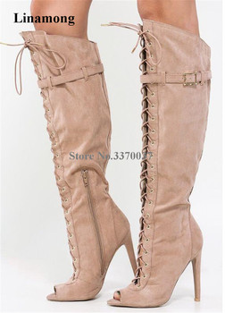 Linamong Fashion Peep Toe Suede Leather Stiletto Thin Heel Knee High Gladiator Boots Lace-up Strap Buckle Long High Heel Boots
