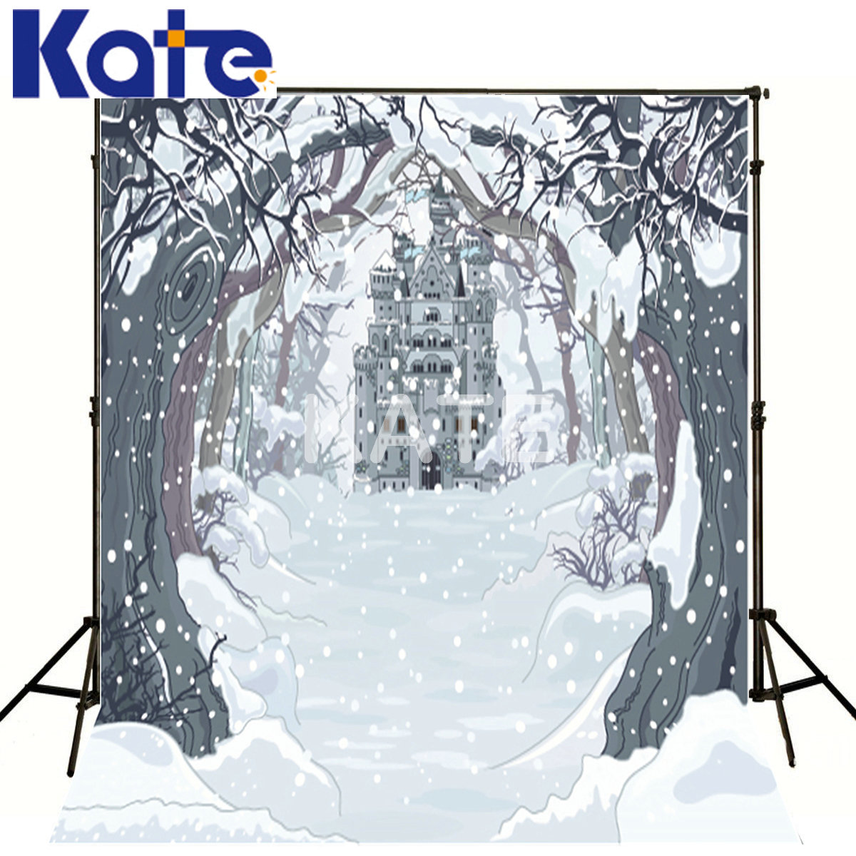 KATE Winter Backdrops Photography Castle Cartoon Forest Backgrounds Scenery Fairy Tale World Backdrops For Children Photo Studio kate photography backdrop winter snow tree castle scenery photography background lighting spot dream backdrops studio