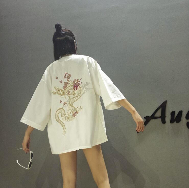 Del Cardigan Kimono Dragón Corea Mujeres Bordado FWd1g1nq