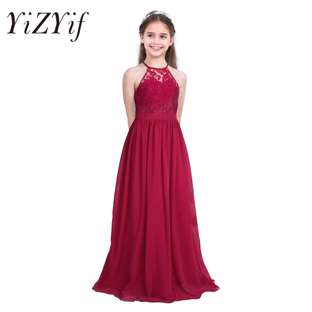 0e110769e4 YiZYiF Cute Girls Lace Chiffon Sleeveless Halter Flower Girl Dress Princess  Pageant A-Line Hollow Out Formal Wedding Party Dress